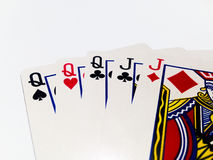 Full House Card in Poker Game with White Background. A playing card is a piece of specially prepared heavy paper, thin cardboard, plastic-coated paper, cotton Royalty Free Stock Photos