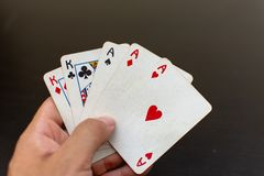 Full house hand in a game of poker stock photo