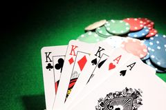 Full House K Over Aces Poker Cards Royalty Free Stock Image