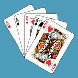Full house kings aces. Full hous kings aces on blue background Stock Images