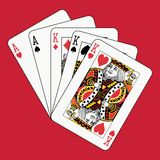 Full house kings aces on red Stock Photography