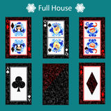 Full house playing card poker combination.  illustration eps 10. On a green background. To use for design, registration, the Stock Photography
