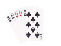 Full House playing cards isolated on white background. Royalty Free Stock Images