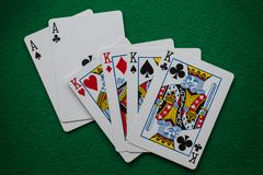 Full house poker card hand stock image