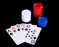 Full house and poker chips Royalty Free Stock Photos