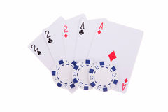 Full House with poker chips. Isolated on the white background stock photo