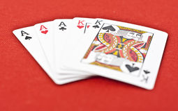 Full House Poker Hand - on Royal Red Background Stock Photos
