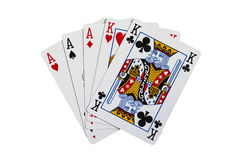 Full House - Poker. A full house is one of the best poker hands. A full house is when a card player has three cards of one type and two cards of another Royalty Free Stock Photography