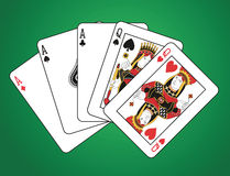 Full house of three aces and two queens. On green background.  The figures are original design Royalty Free Stock Photography
