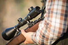 Full hunter hunting rifle Royalty Free Stock Photos