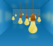 Full of Idea Room Concept. Concept of empty room with full of idea with many hanging lamps Royalty Free Stock Photos