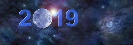 Full Januari måne i Websitetitelraden 2019 royaltyfria bilder