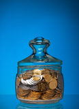 Full jar with coins Royalty Free Stock Photos