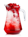 Full jug of fresh cranberries nonalcoholic cocktail with berries. Isolated Royalty Free Stock Photo