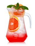 Full jug of fresh nonalcoholic cocktail with grapefruit and gree Royalty Free Stock Image