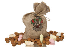 Full jute bag sinterklaas Royalty Free Stock Image