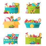 Full kid toys in boxes for kids play childhood babyroom container vector illustration. Cardboard children playroom Stock Images