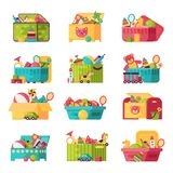 Full kid toys in boxes for kids play childhood babyroom container vector illustration. Cardboard children playroom Royalty Free Stock Photography