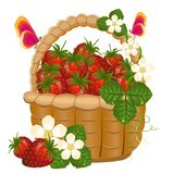 Full korg av mogna jordgubbar Stock Illustrationer