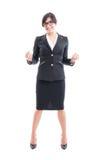 Full kropp av en affärskvinna som firar seger och framgång Royaltyfri Fotografi