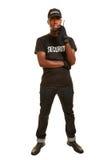 Full kropp som är kort av svart man som ordningsvakten Royaltyfri Fotografi