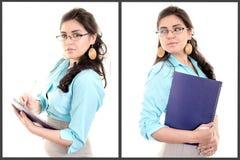 Full kroppstående av den latinamerikanska affärskvinnan med arkivfoton