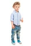 Full längd av den härliga blonda pojken arkivbild