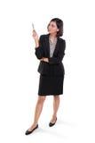 Full längd för kvinnlig sakkunnig presentation royaltyfri bild