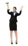 Full längdstående av affärskvinnan med den guld- koppen royaltyfria foton