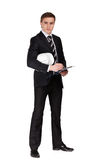 Full längdstående av affärsmannen med hjälmen arkivfoton