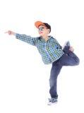 Full längdstående av att le pysen i jeans Arkivbild