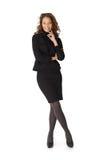 Full längdstående av den lyckliga affärskvinnan Royaltyfri Foto