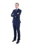 Full längdstående av den unga stiliga mannen i isolator för affärsdräkt arkivfoton