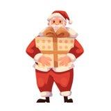 Full längdstående av jultomten som rymmer en stor gåvaask Arkivbild