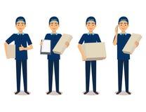 Full längdstående av leveransmannen i blå enhetlig innehavask stock illustrationer