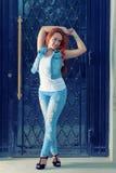 Full längdstående av sexiga röda haired kvinnor in Royaltyfria Bilder