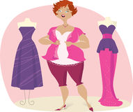 Full lady choosees dress. Disappointed full lady trying on dresses vector illustration