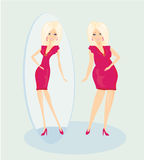 Full lady enjoys her slim reflection Stock Photo