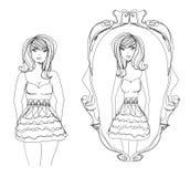 Full lady enjoys her slim reflection Royalty Free Stock Image
