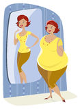 Full lady and her slim reflection. Full lady enjoys her slim reflection in the mirror stock illustration