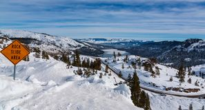 Overlooking Donnor Lake in California from Donnor sumit during the winter stock photos