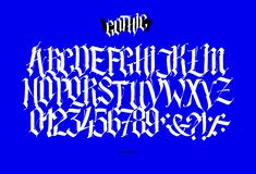 Full Latin alphabet in the Gothic style. Vector. Letters and symbols on a blue background. Calligraphy and lettering. Medieval. Latin letters. Elegant font for stock illustration