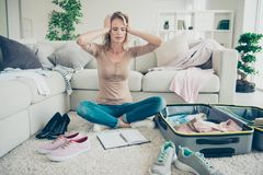Full legs body size frustration confused exhausted lady her deni royalty free stock photos