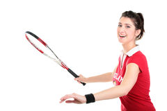 Isolated studio picture from a young woman with tennis racket Royalty Free Stock Photo