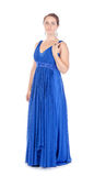 Full lenght portrait of a beautiful young woman in blue dress royalty free stock images