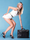 Full lenght Portrait pretty young woman black bag Stock Photos