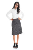 Full length African American business woman. Full length portrait beautiful African American business woman smiling isolated over white background. Mixed race stock photos