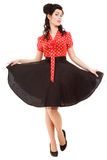 Full length american girl young woman isolated. Pin-up retro style. Royalty Free Stock Photos