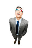 Full length asian businessman wearing 3d glasses movie white bac Stock Image