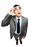 Full length asian businessman wearing 3d glasses movie white bac Royalty Free Stock Photo